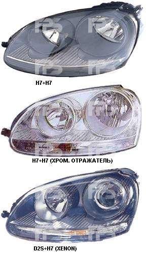 ФАРА ЛЕВАЯ H7+H7 (ХРОМИРОВАННЫЙ ОТРАЖАТЕЛЬ) на VOLKSWAGEN GOLF V HB 2004-2009 (+КОРРЕКТОР)