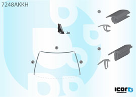 МОЛДИНГ ЛОБОВОГО СТЕКЛА СОСТАВН. К-Т + КЛИПСЫ на RENAULT SYMBOL I 1998-2011 (LB0 / 1 / 2) / CLIO II 2001-2005 (B0 / 1 / 2)